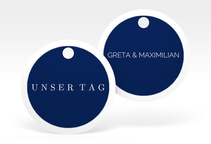 """Geschenkanhänger Hochzeit """"Simply"""" Geschenkanhänger, rund blau"""