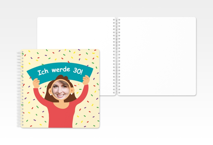 "Gästebuch Geburtstag ""Comic Woman"" Ringbindung beige"