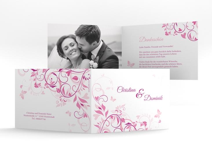 "Danksagungskarte Hochzeit ""Lilly"" A6 Klappkarte Quer pink"