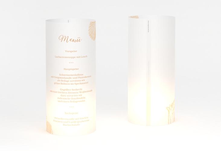 """Windlicht Menü Hochzeit """"Muschelreich"""" Windlicht beige"""