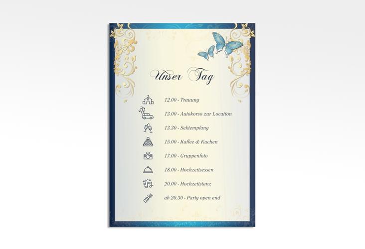 "Tagesablauf Leinwand Hochzeit ""Toulouse"" 50 x 70 cm Leinwand blau"