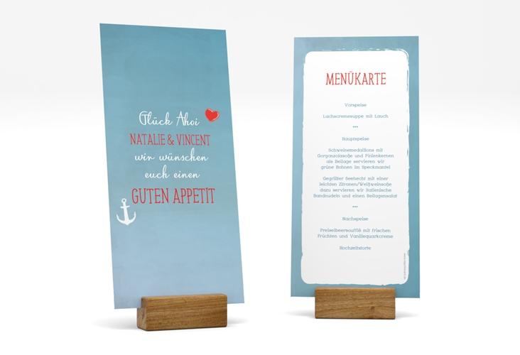 """Menükarte Hochzeit """"Ehehafen"""" DIN lang hoch"""