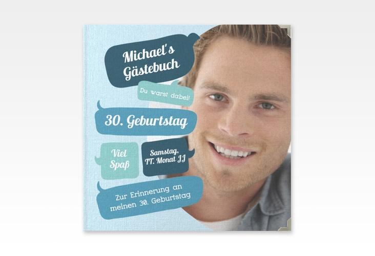 "Gästebuch Selection Geburtstag ""Whatsup"" Leinen-Hardcover blau"