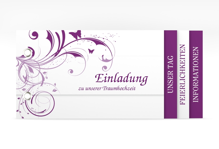 "Hochzeitseinladung ""Palma"" Booklet lila"