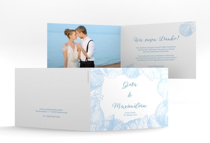 """Danksagungskarte Hochzeit """"Muschelreich"""" A6 Klappkarte Quer blau"""