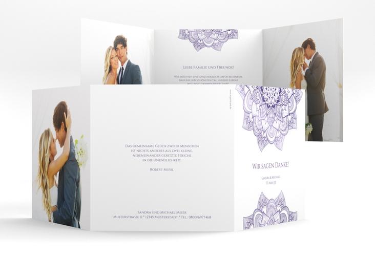 """Dankeskarte Hochzeit """"Delight"""" Quadr. Karte doppelt lila"""