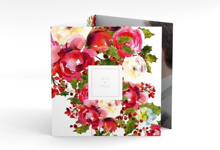 "Dankeskarte Hochzeit ""Blumenpracht"" Quadr. Karte doppelt weiss"