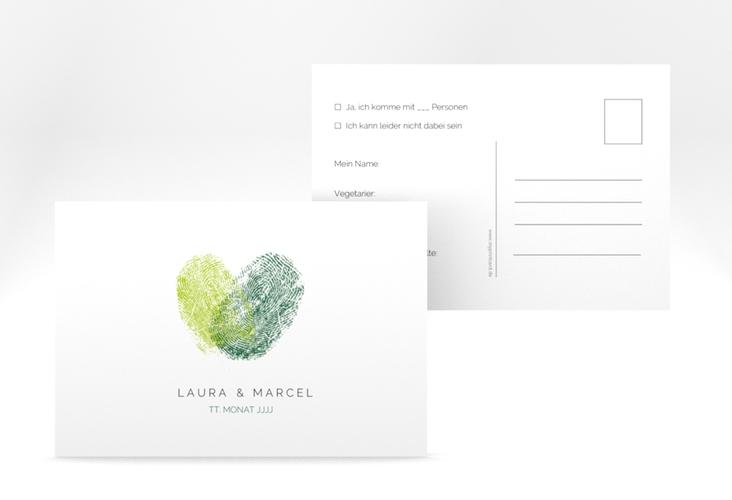 "Antwortkarte Hochzeit ""Fingerprint"" A6 Postkarte gruen"