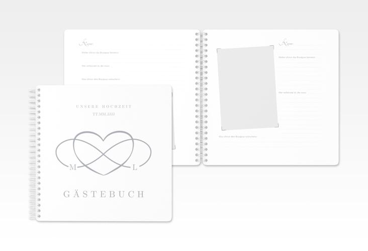 "Gästebuch Hochzeit ""Infinity"" Ringbindung grau"