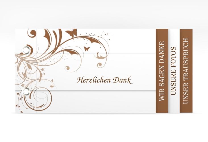 """Danksagungskarte Hochzeit """"Palma"""" Booklet braun"""