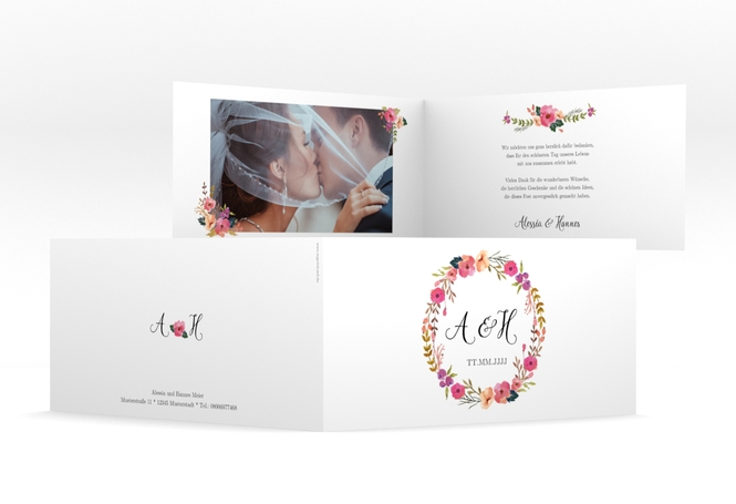 "Danksagungskarte Hochzeit ""Fiore"" DIN lang Klappkarte"