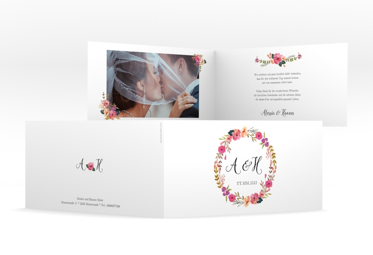 "Danksagungskarte Hochzeit ""Fiore"" DIN lang Klappkarte weiss"