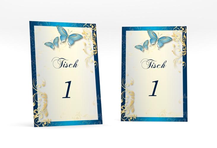 """Tischnummer Hochzeit """"Toulouse"""" Tischaufsteller blau"""