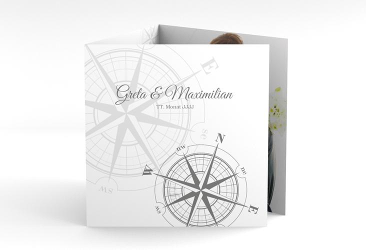 """Dankeskarte Hochzeit """"Windrose"""" Quadr. Karte doppelt grau"""