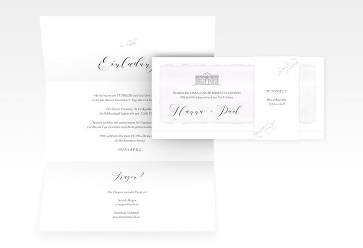 """Hochzeitseinladung """"Villa"""" DIN lang Wickelfalz flieder"""