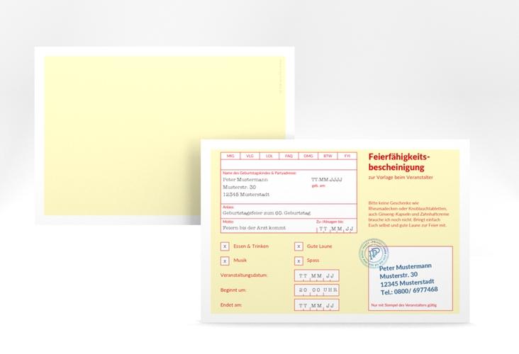 """Einladungskarte """"Krankenschein"""" A6 quer"""