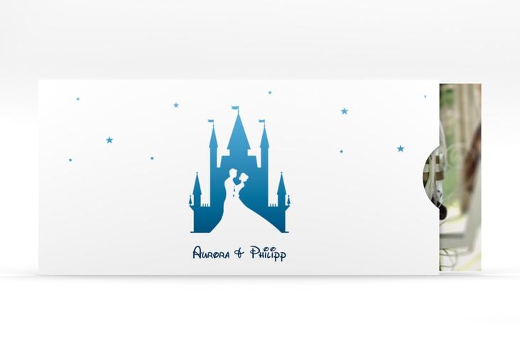 """Hochzeitseinladung """"Castle"""" Einsteckkarte blau"""