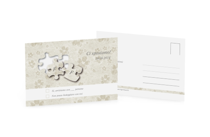 Biglietti risposta matrimonio collezione Bergamo A6 Postkarte bianco