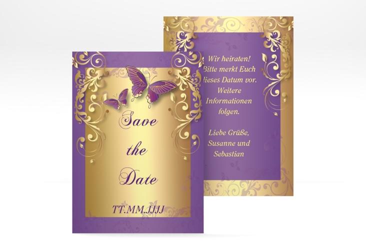 "Save the Date-Visitenkarte ""Toulouse"" Visitenkarte lila"