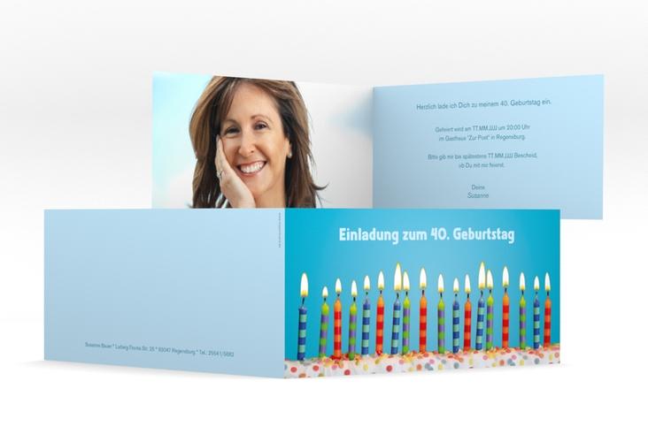 "Einladungskarte ""Candles"" DIN lang Klappkarte tuerkis"