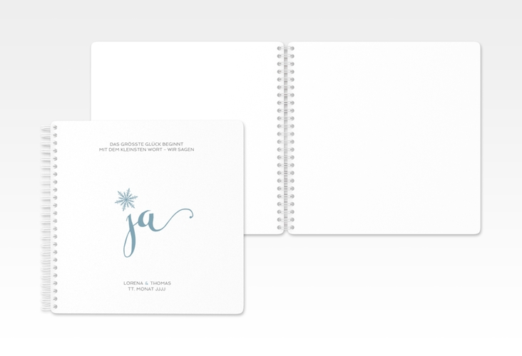 "Gästebuch Hochzeit ""Snowflake"" Ringbindung blau"