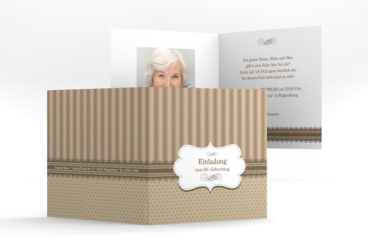 """Einladungskarte """"Heinrich/Henriette"""" Quadratische Klappkarte braun"""