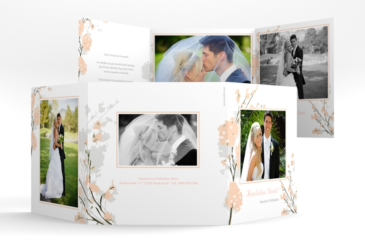 """Danksagungskarte Hochzeit """"Salerno"""" Quadr. Karte doppelt lachs"""