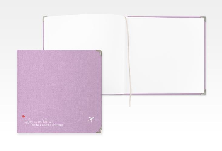 """Gästebuch Selection Hochzeit """"Weddingpass"""" Leinen-Hardcover flieder"""