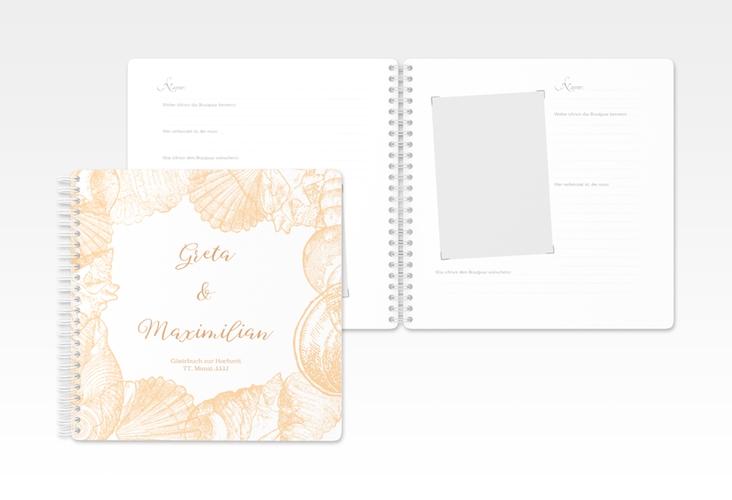 """Gästebuch Hochzeit """"Muschelreich"""" Ringbindung beige"""
