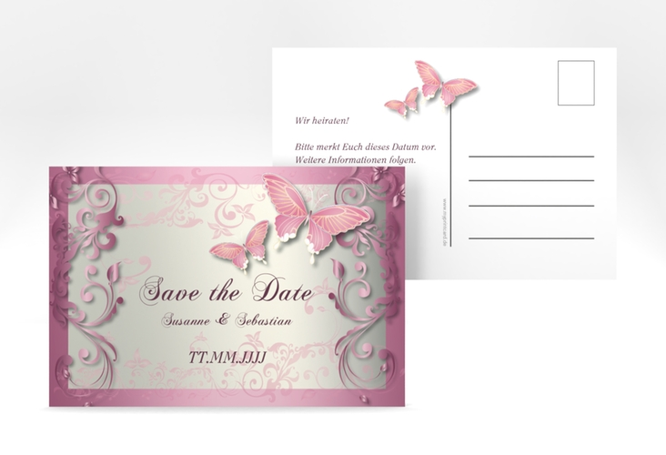 "Save the Date-Postkarte ""Toulouse"" A6 Postkarte rosa"