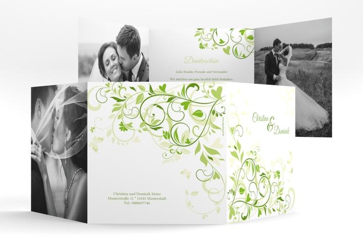 """Dankeskarte Hochzeit """"Lilly"""" Quadr. Karte doppelt gruen"""