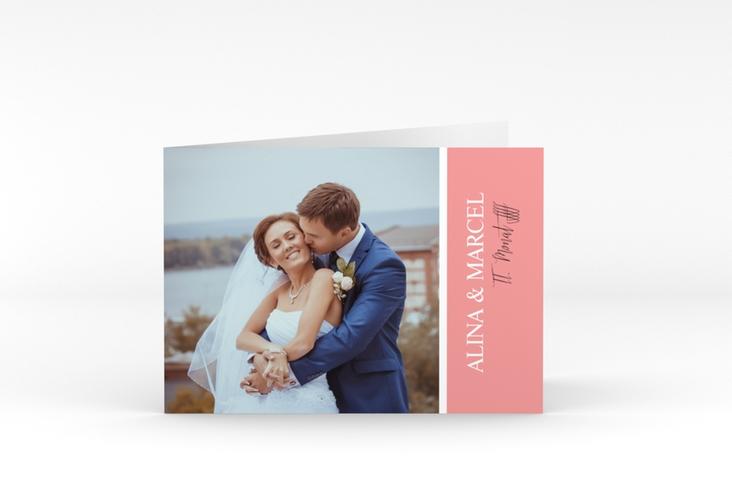 """Danksagungskarte Hochzeit """"Classic"""" A6 Klappkarte Quer rosa"""