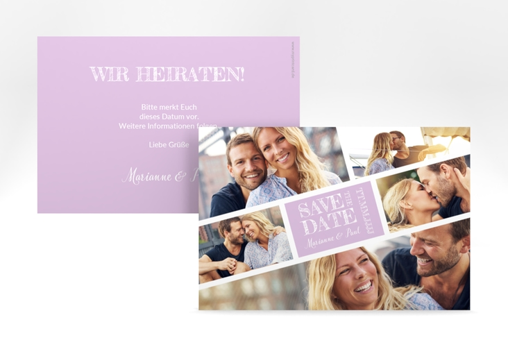 "Save the Date-Karte ""Rise"" A6 quer flieder"