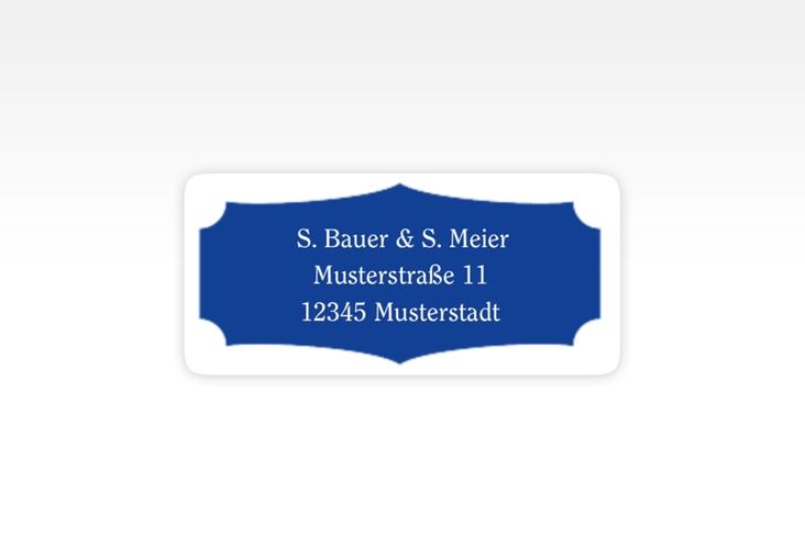"""Absenderetikett Hochzeit """"Latina"""" 45,7 x 21,2 mm blau"""