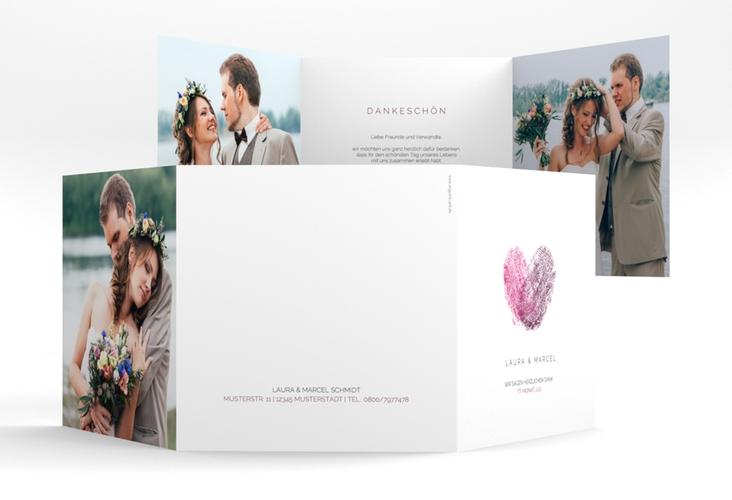 """Dankeskarte Hochzeit """"Fingerprint"""" Quadr. Karte doppelt"""