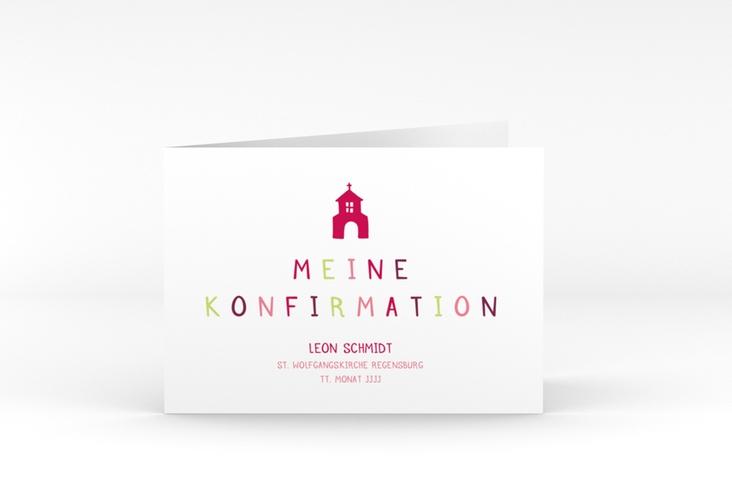 "Konfirmationseinladung ""Ecclesia"" A6 Klappkarte Quer pink"