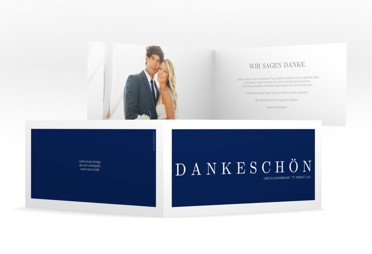 "Dankeskarte Hochzeit ""Simply"" DIN lang Klappkarte blau"