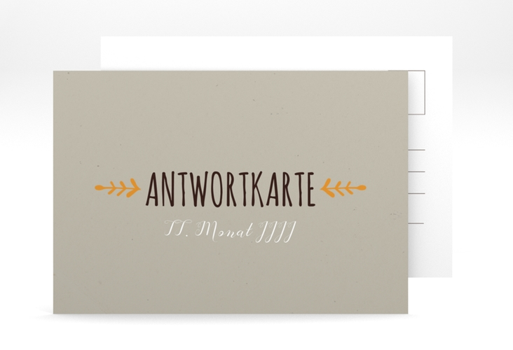"""Antwortkarte Hochzeit """"Eden"""" A6 Postkarte orange"""