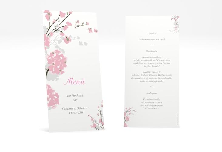 """Menükarte Hochzeit """"Salerno"""" DIN lang hoch rosa"""