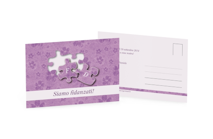 Inviti fidanzamento matrimonio collezione Bergamo A6 Postkarte lila
