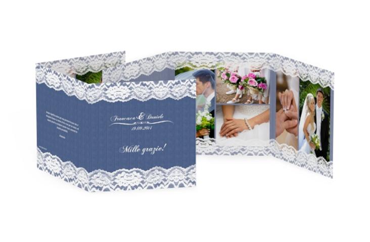 Ringraziamenti matrimonio collezione Montreux Quadr. Karte doppelt blu