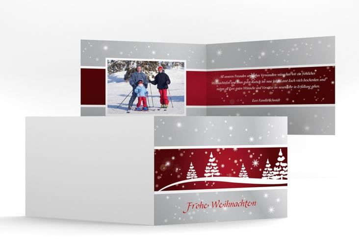 """Weihnachtskarte """"Magical"""" A6 Klappkarte Quer rot"""