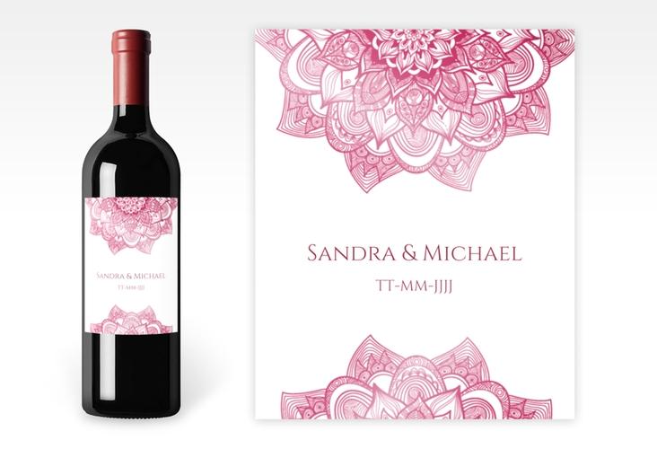 """Weinflaschenetikett Hochzeit """"Delight"""" Etikett Weinflasche 4er Set pink"""