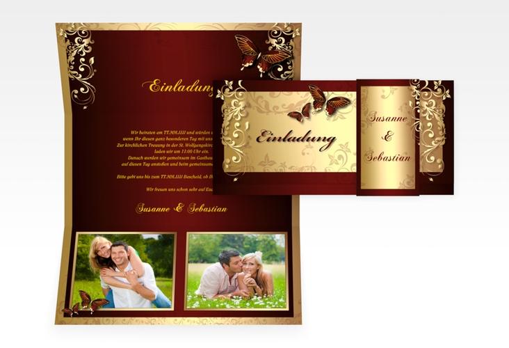 "Hochzeitseinladung ""Toulouse"" DIN lang Wickelfalz"