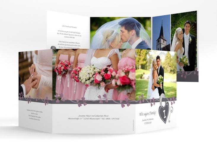 "Danksagungskarte Hochzeit ""Oviedo"" Quadr. Karte doppelt grau"