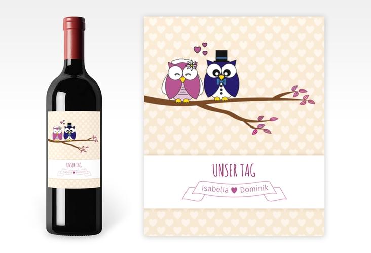 """Weinflaschenetikett Hochzeit """"Eulenliebe"""" Etikett Weinflasche 4er Set"""