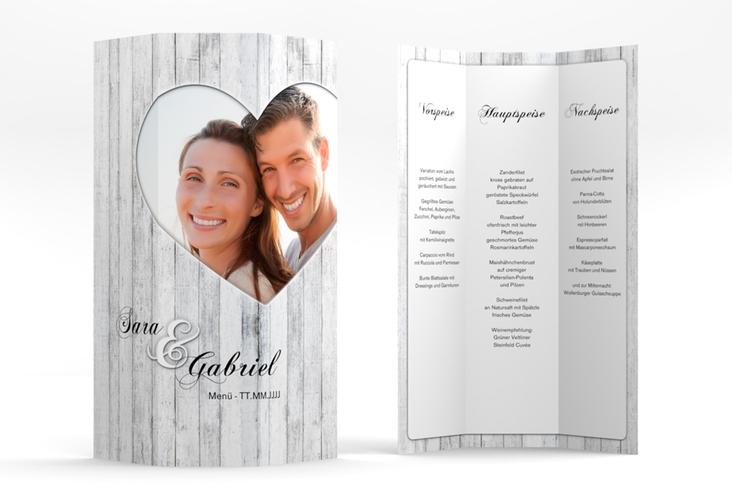 "Menükarte Hochzeit ""Herz"" DIN A4 Wickelfalz weiss"