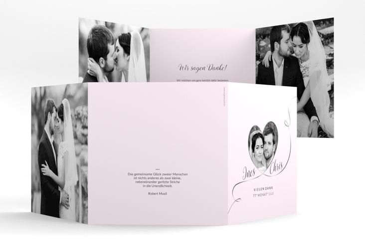 """Dankeskarte Hochzeit """"Dolce"""" Quadr. Karte doppelt rosa"""