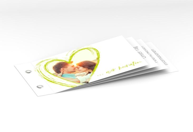 """Hochzeitseinladung """"Liebe"""" Booklet gruen"""