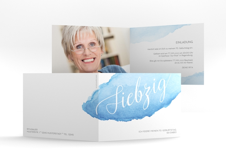 """Einladungskarte """"Aquarell"""" A6 Klappkarte Quer blau"""